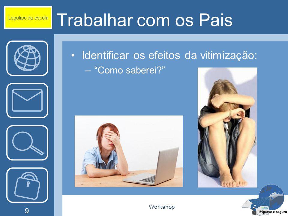 Workshop 9 Trabalhar com os Pais Identificar os efeitos da vitimização: – Como saberei? Logotipo da escola