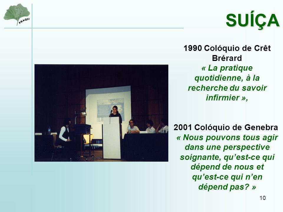 10 1990 Colóquio de Crêt Brérard « La pratique quotidienne, à la recherche du savoir infirmier », 2001 Colóquio de Genebra « Nous pouvons tous agir dans une perspective soignante, qu'est-ce qui dépend de nous et qu'est-ce qui n'en dépend pas.