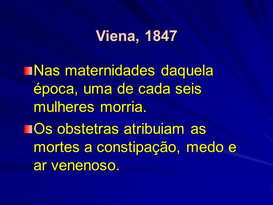 Viena, 1847 Nas maternidades daquela época, uma de cada seis mulheres morria. Os obstetras atribuiam as mortes a constipação, medo e ar venenoso.