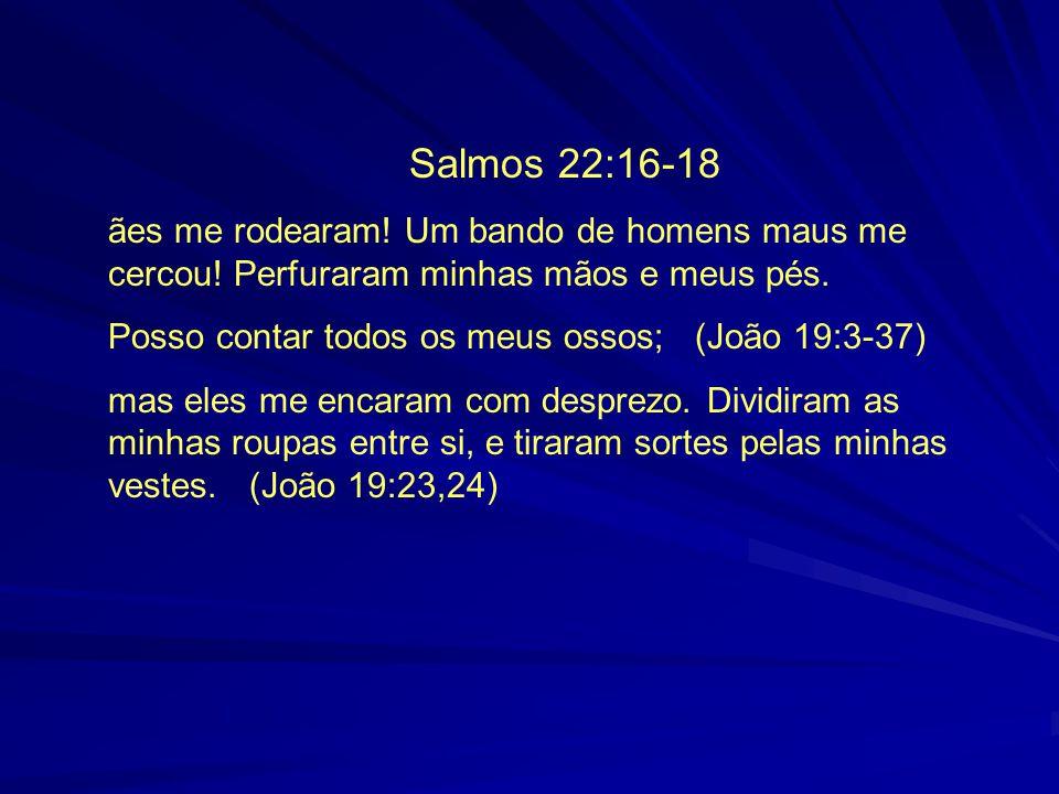 Salmos 22:16-18 ães me rodearam! Um bando de homens maus me cercou! Perfuraram minhas mãos e meus pés. Posso contar todos os meus ossos; (João 19:3-37