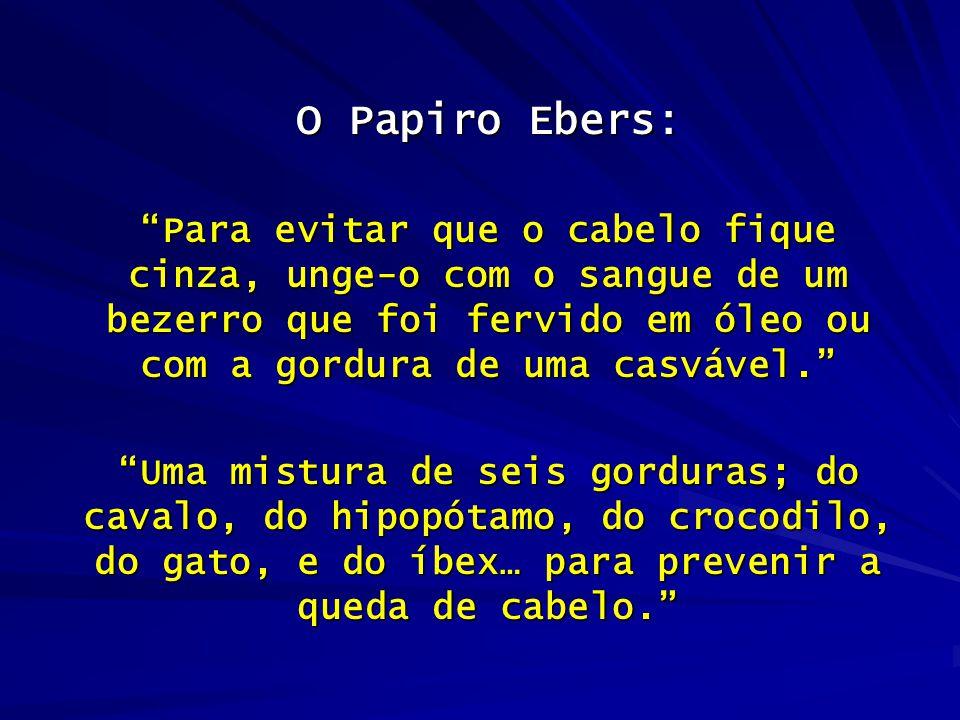 """O Papiro Ebers: """"Para evitar que o cabelo fique cinza, unge-o com o sangue de um bezerro que foi fervido em óleo ou com a gordura de uma casvável."""" """"U"""