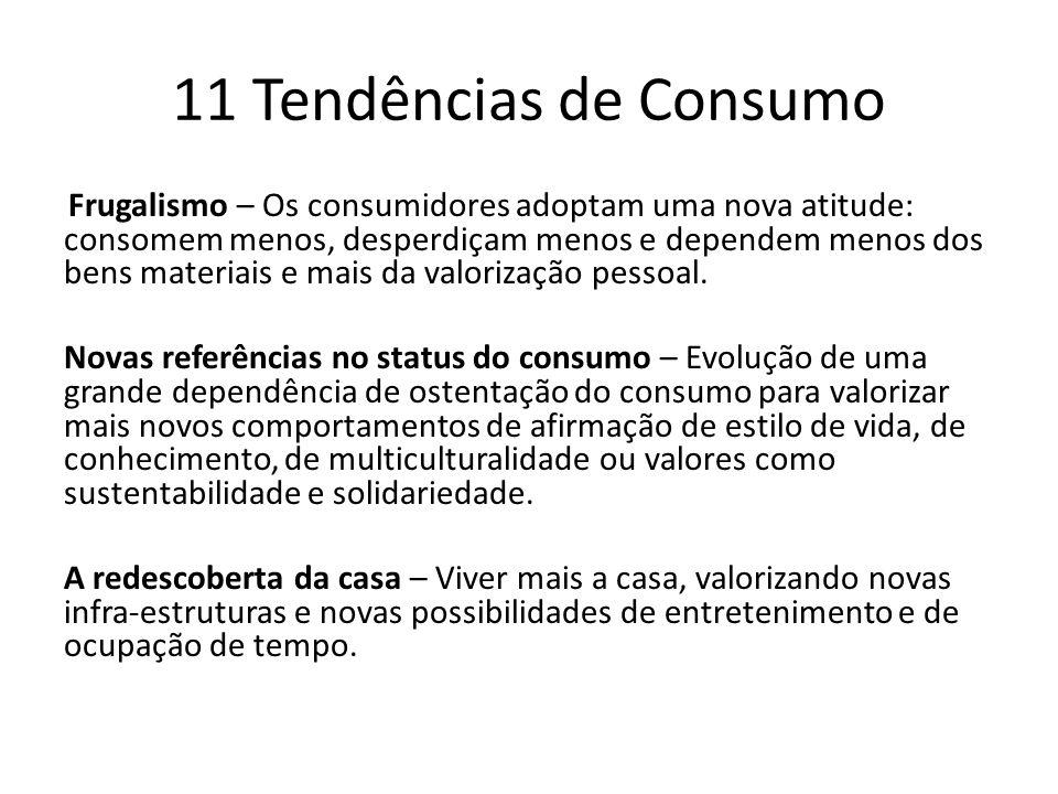 11 Tendências de Consumo Frugalismo – Os consumidores adoptam uma nova atitude: consomem menos, desperdiçam menos e dependem menos dos bens materiais e mais da valorização pessoal.