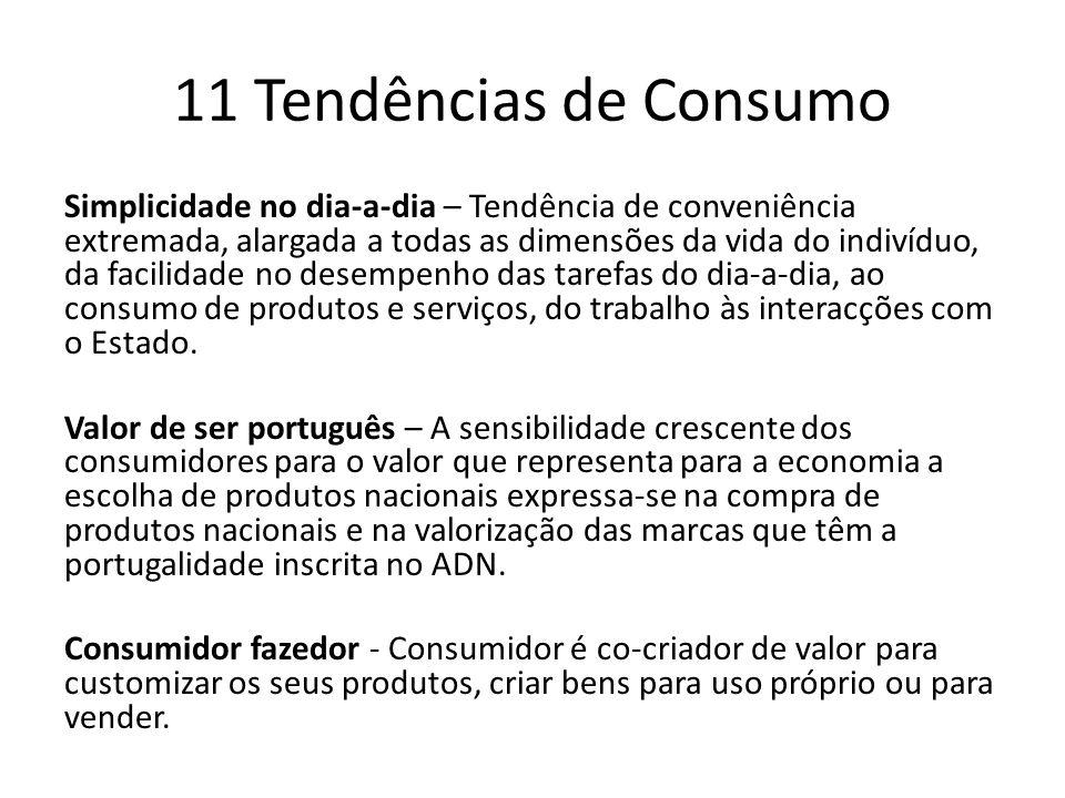11 Tendências de Consumo Simplicidade no dia-a-dia – Tendência de conveniência extremada, alargada a todas as dimensões da vida do indivíduo, da facilidade no desempenho das tarefas do dia-a-dia, ao consumo de produtos e serviços, do trabalho às interacções com o Estado.