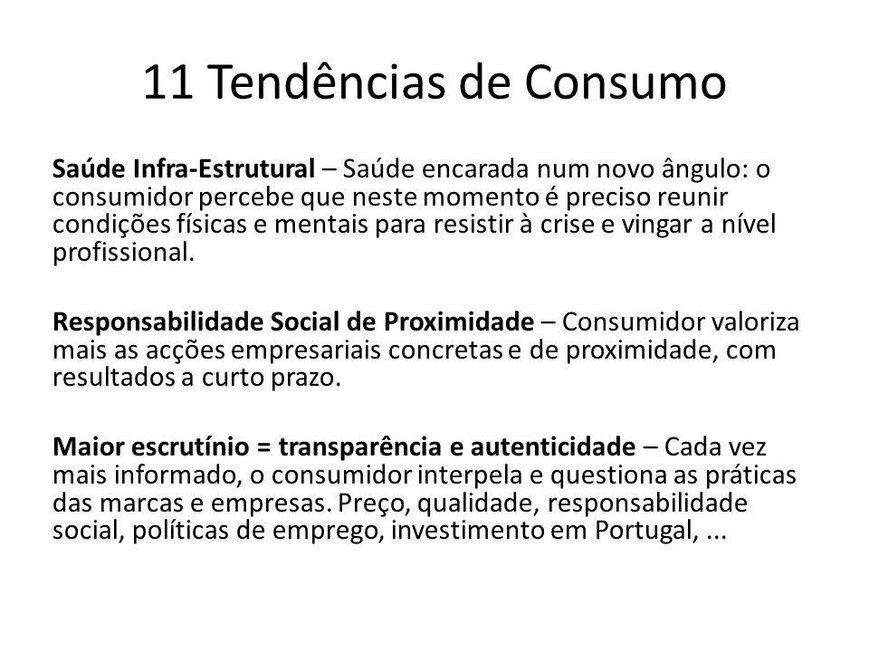 11 Tendências de Consumo Saúde Infra-Estrutural – Saúde encarada num novo ângulo: o consumidor percebe que neste momento é preciso reunir condições físicas e mentais para resistir à crise e vingar a nível profissional.