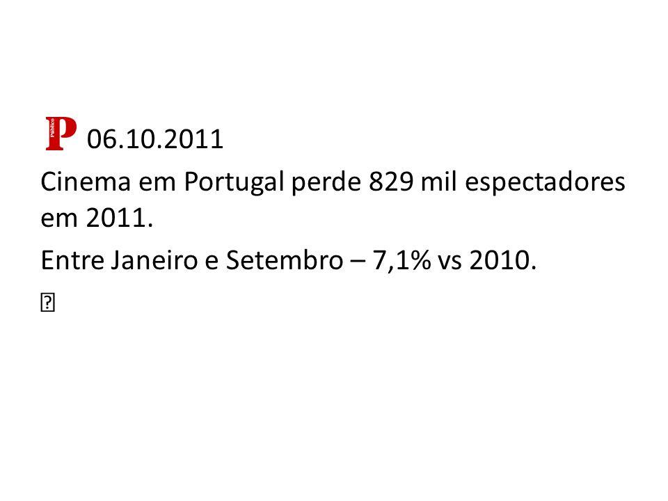 06.10.2011 Cinema em Portugal perde 829 mil espectadores em 2011.