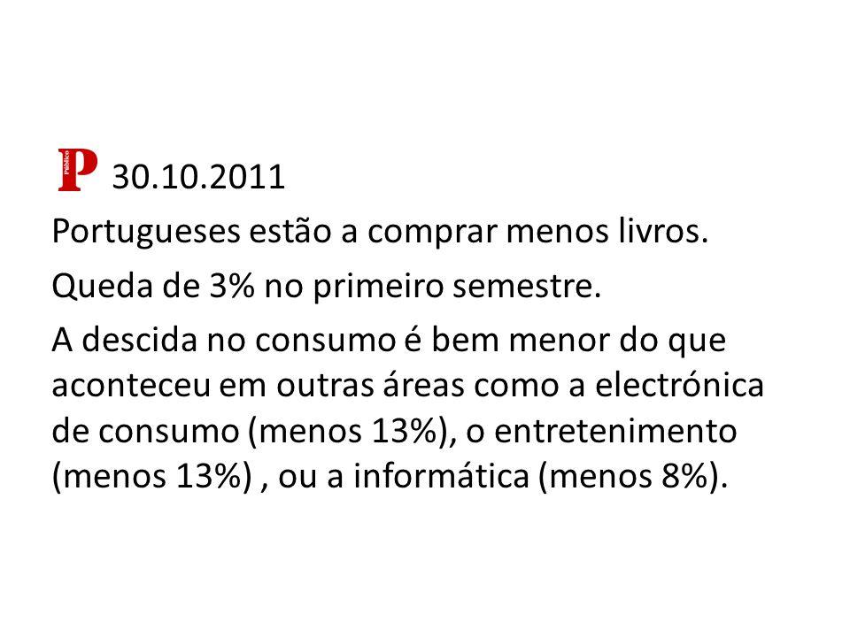30.10.2011 Portugueses estão a comprar menos livros.