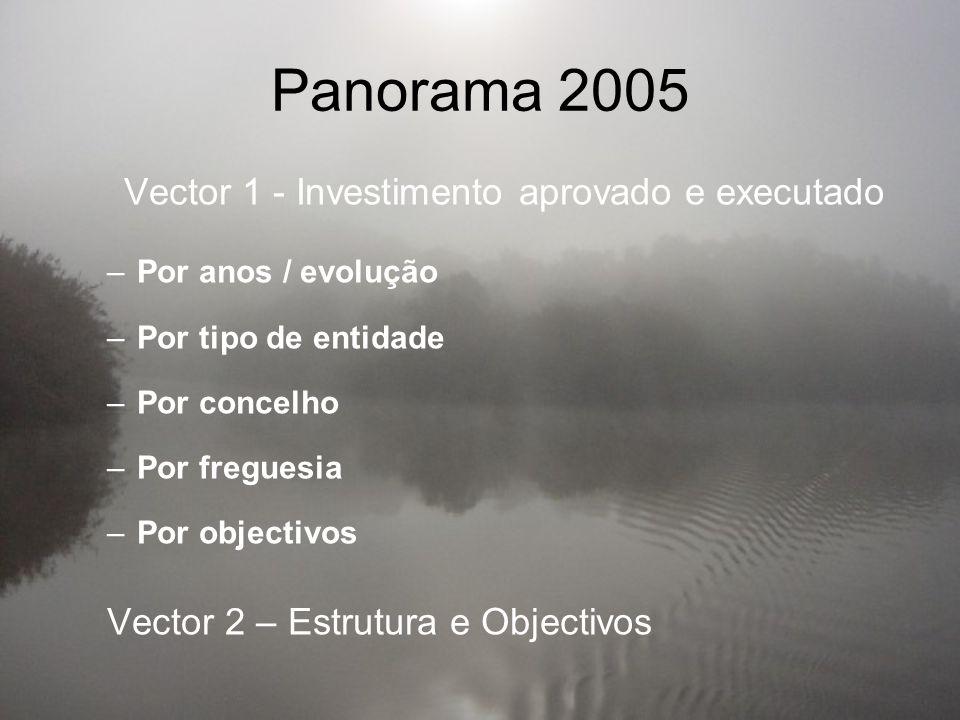Panorama 2005 Vector 1 - Investimento aprovado e executado –Por anos / evolução –Por tipo de entidade –Por concelho –Por freguesia –Por objectivos Vector 2 – Estrutura e Objectivos