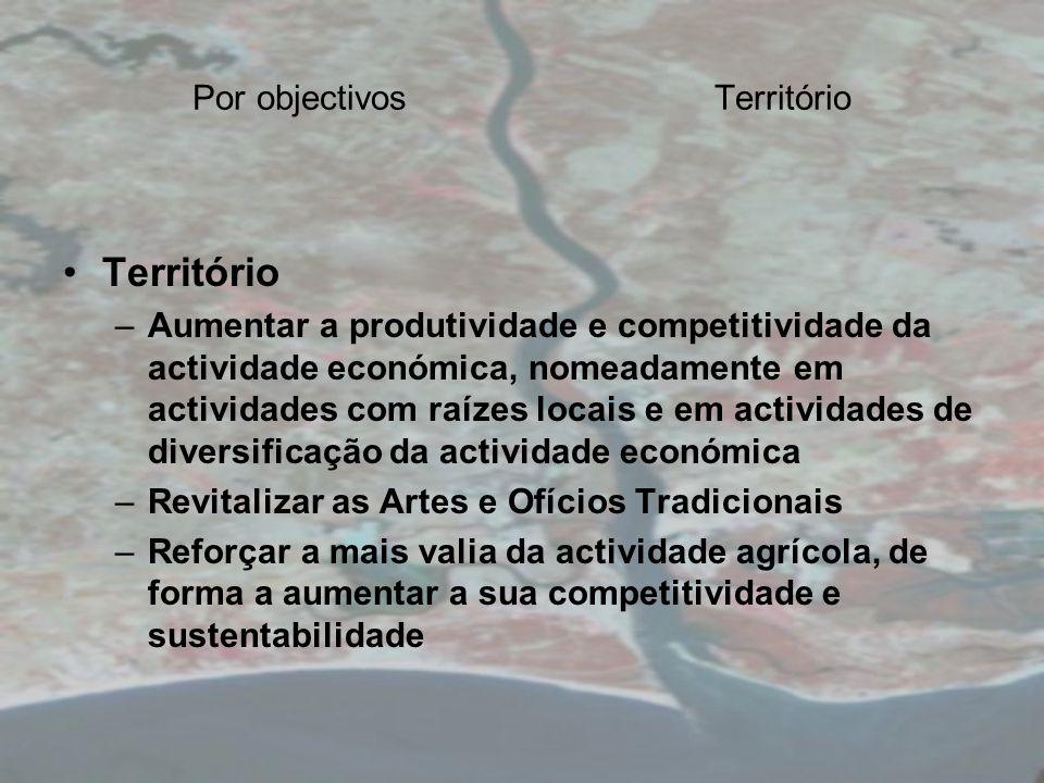 Por objectivosTerritório Território –Aumentar a produtividade e competitividade da actividade económica, nomeadamente em actividades com raízes locais e em actividades de diversificação da actividade económica –Revitalizar as Artes e Ofícios Tradicionais –Reforçar a mais valia da actividade agrícola, de forma a aumentar a sua competitividade e sustentabilidade