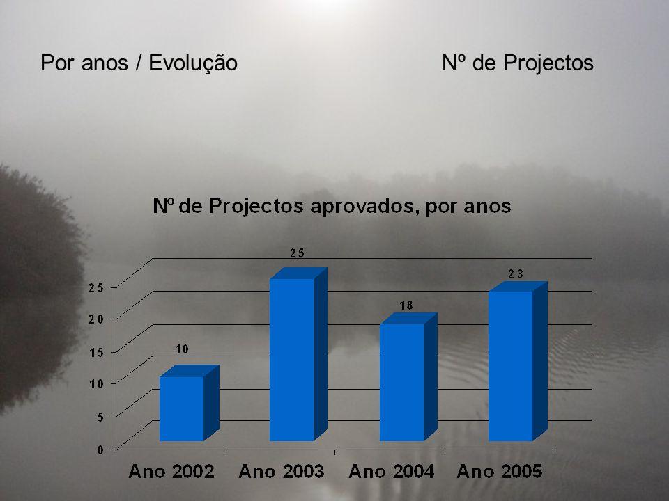Por anos / EvoluçãoNº de Projectos
