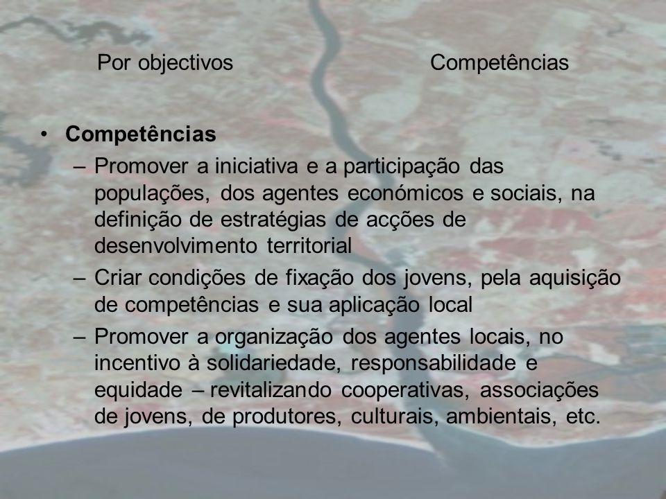 Por objectivosCompetências Competências –Promover a iniciativa e a participação das populações, dos agentes económicos e sociais, na definição de estr
