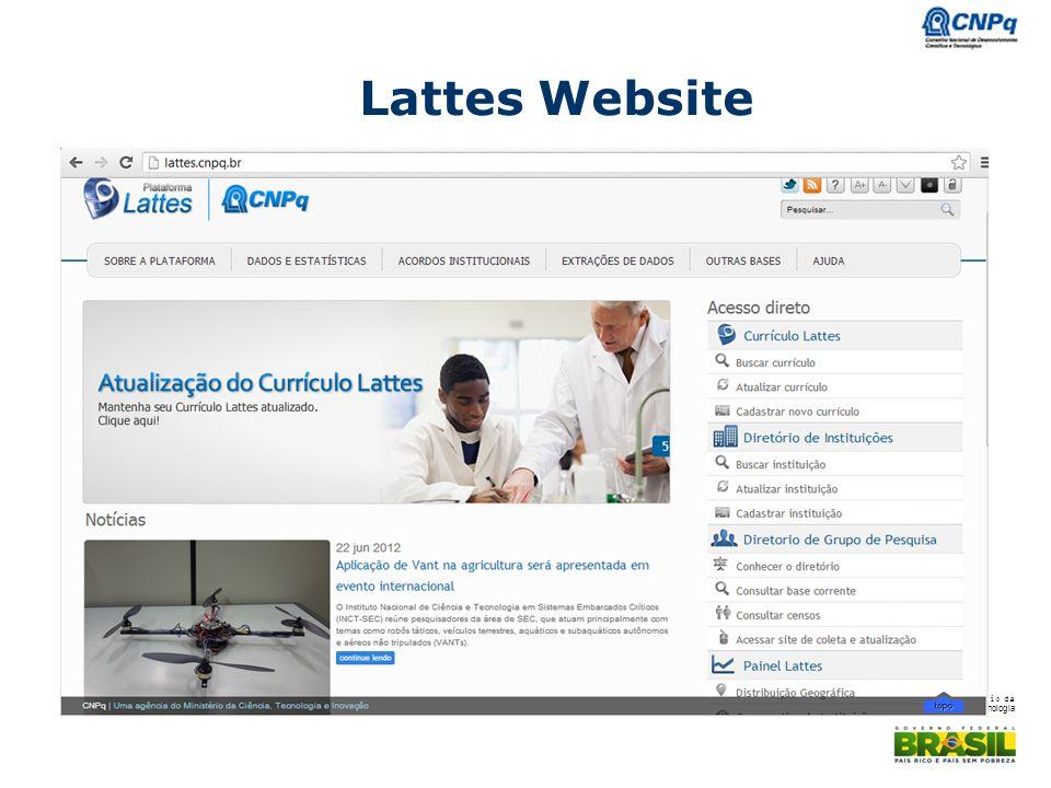 Ministério da Ciência e Tecnologia Lattes Website