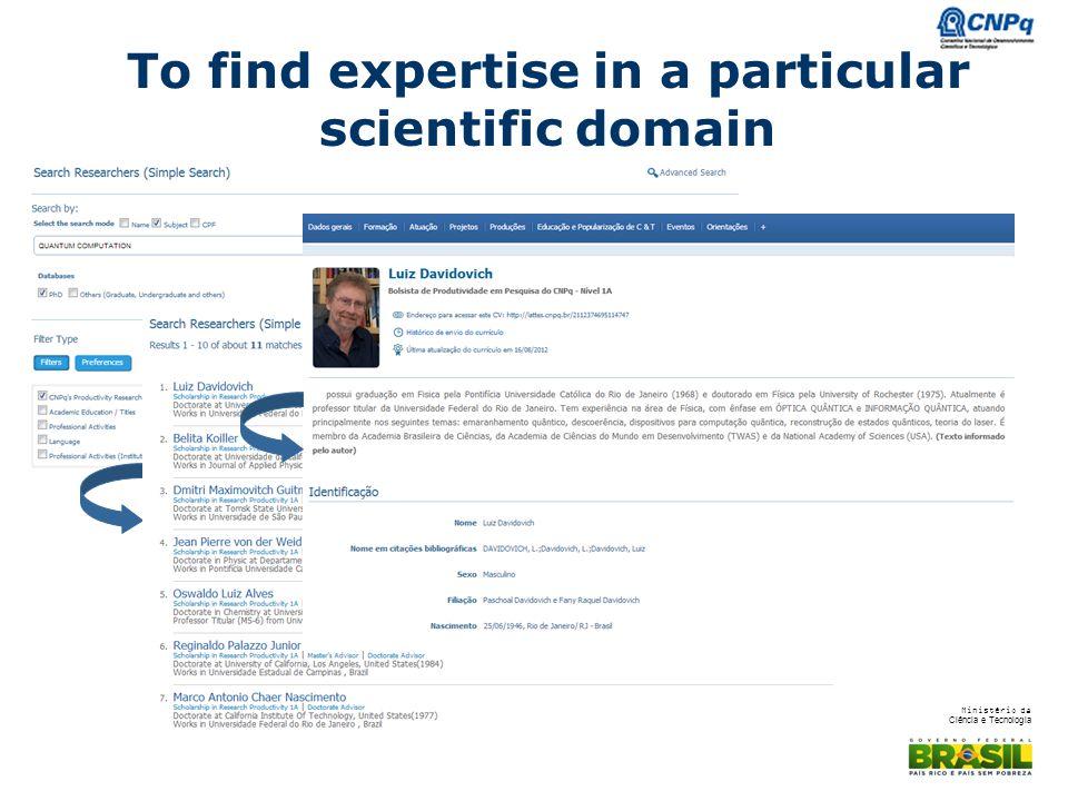 Ministério da Ciência e Tecnologia To find expertise in a particular scientific domain