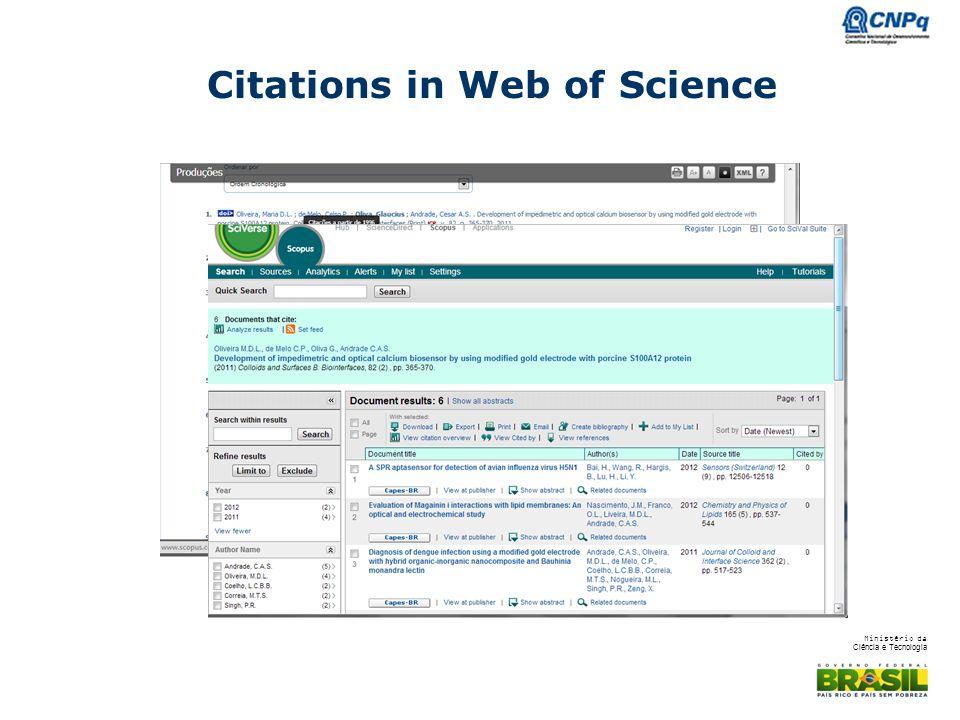 Ministério da Ciência e Tecnologia Citations in Web of Science