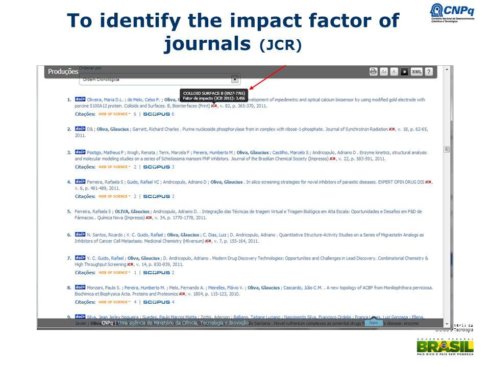 Ministério da Ciência e Tecnologia To identify the impact factor of journals (JCR)