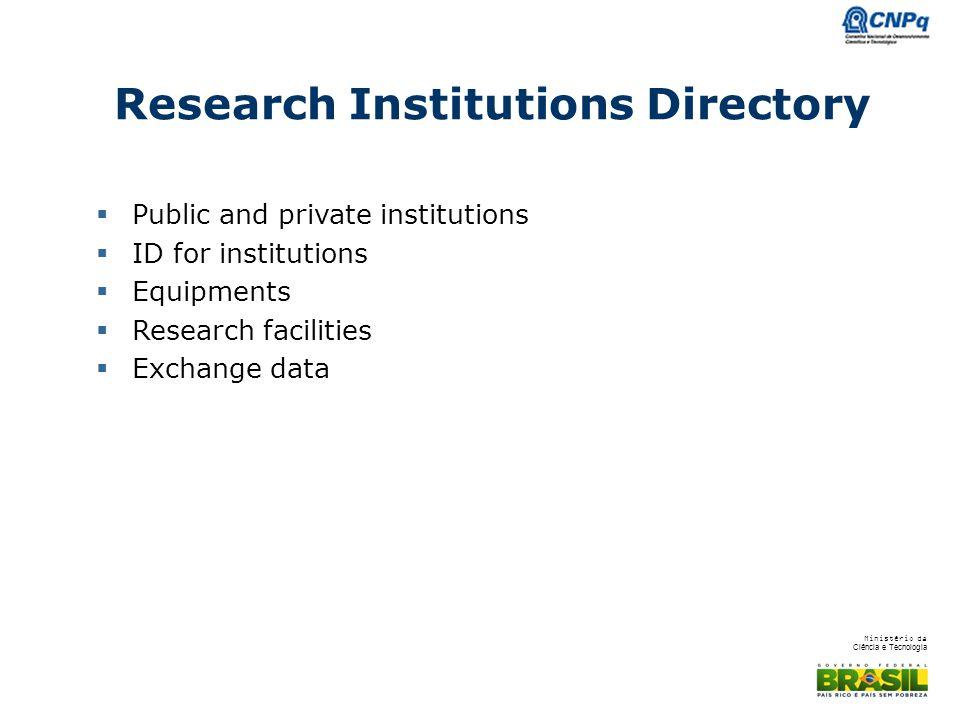 Ministério da Ciência e Tecnologia Research Institutions Directory  Public and private institutions  ID for institutions  Equipments  Research facilities  Exchange data