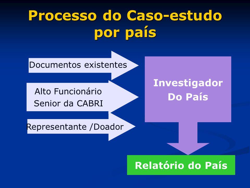 Processo do Caso-estudo por país Investigador Do País Relatório do País Documentos existentes Alto Funcionário Senior da CABRI Representante /Doador