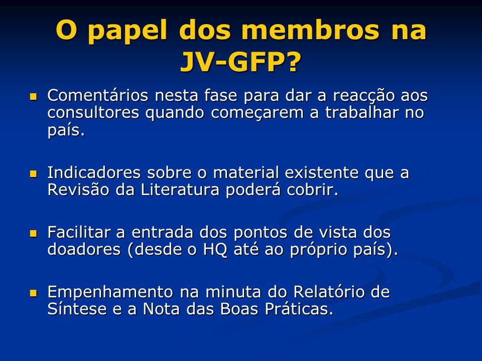 O papel dos membros na JV-GFP.