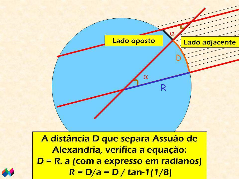   Os 2 ângulos representados são iguais (alternos-internos) Em Alexandria, tem-se: tan a = tamanho da sombra/tamamnho do gnómon tan a = 1/8 A distância D que separa Assuão de Alexandria, verifica a equação: D = R.