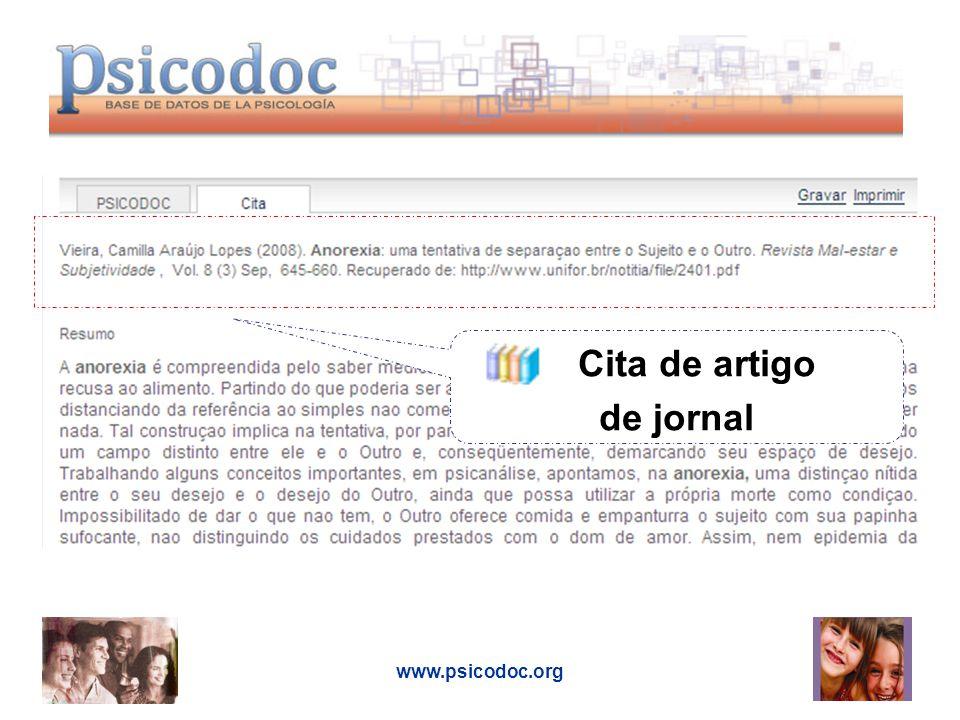 www.psicodoc.org Cita de artigo de jornal