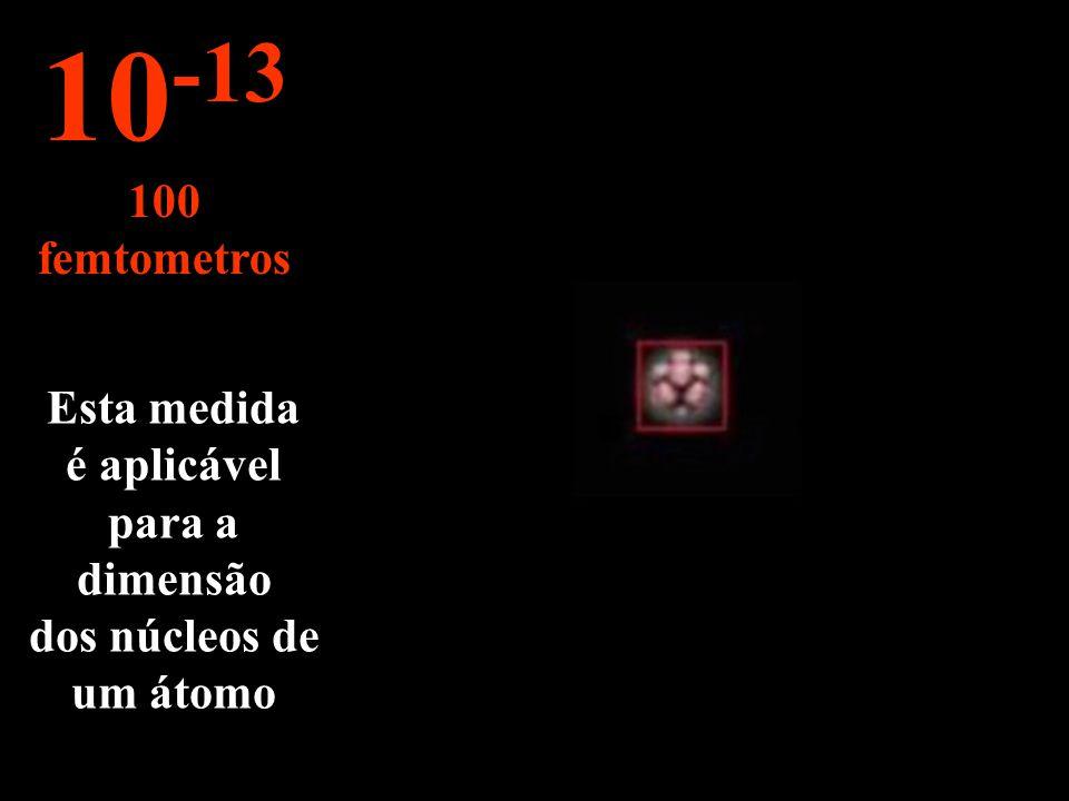 Um imenso esvazia entre o núcleo e as órbitas dos electrões... 10 -12 1 picometro