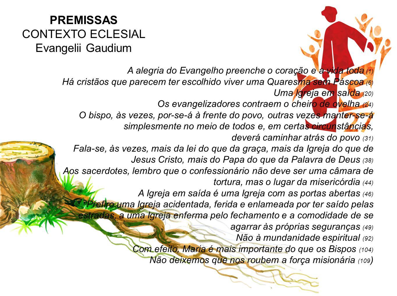 PREMISSAS CONTEXTO ECLESIAL Evangelii Gaudium A alegria do Evangelho preenche o coração e a vida toda (1) Há cristãos que parecem ter escolhido viver