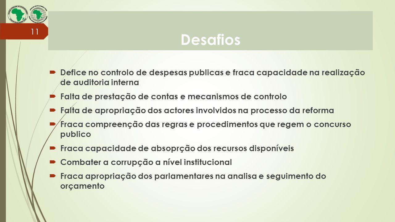 Desafios 11  Defice no controlo de despesas publicas e fraca capacidade na realização de auditoria interna  Falta de prestação de contas e mecanismo