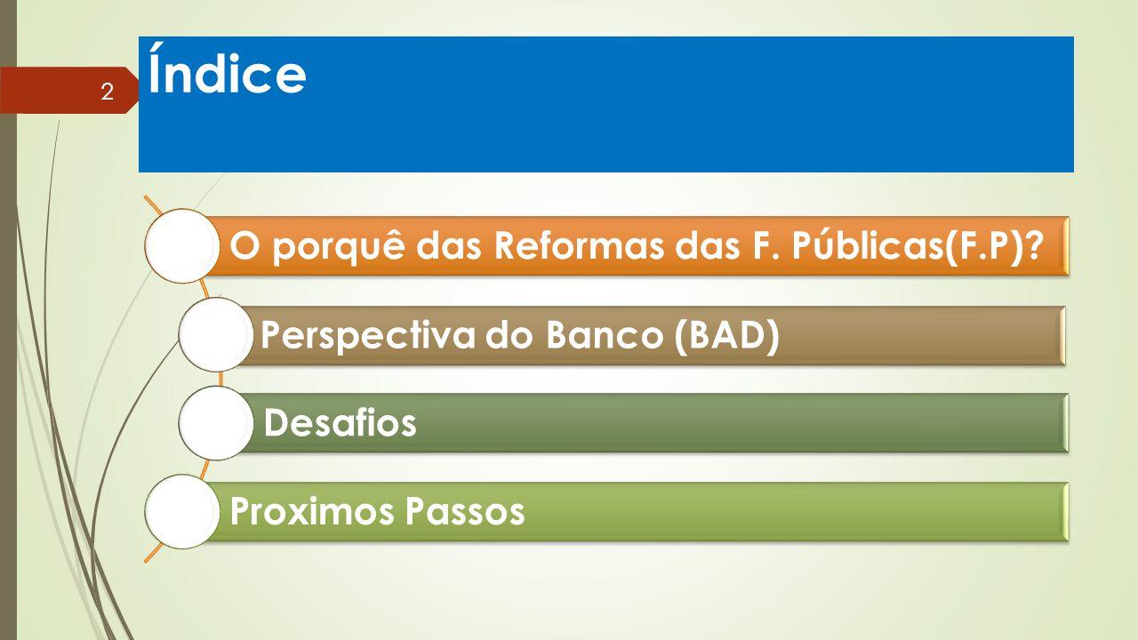 Índice O porquê das Reformas das F. Públicas(F.P)? Perspectiva do Banco (BAD) Desafios Proximos Passos 2