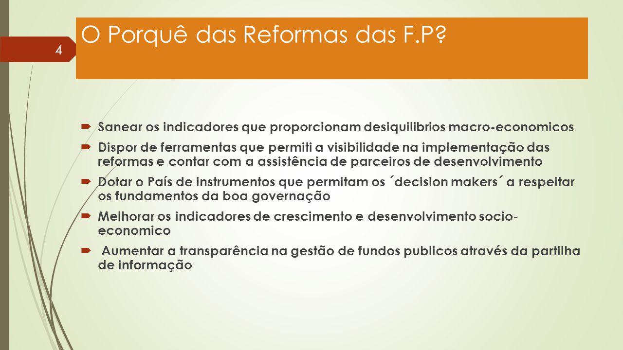 O Porquê das Reformas das F.P?  Sanear os indicadores que proporcionam desiquilibrios macro-economicos  Dispor de ferramentas que permiti a visibili