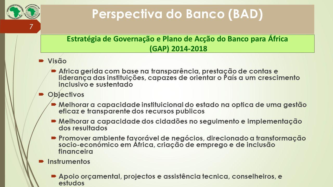 Perspectiva do Banco (BAD)  Visão  Africa gerida com base na transparência, prestação de contas e liderança das instituições, capazes de orientar o