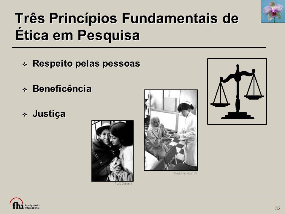 32 Nash Herndon/FHI Três Princípios Fundamentais de Ética em Pesquisa  Respeito pelas pessoas  Beneficência  Justiça Todd Shapera