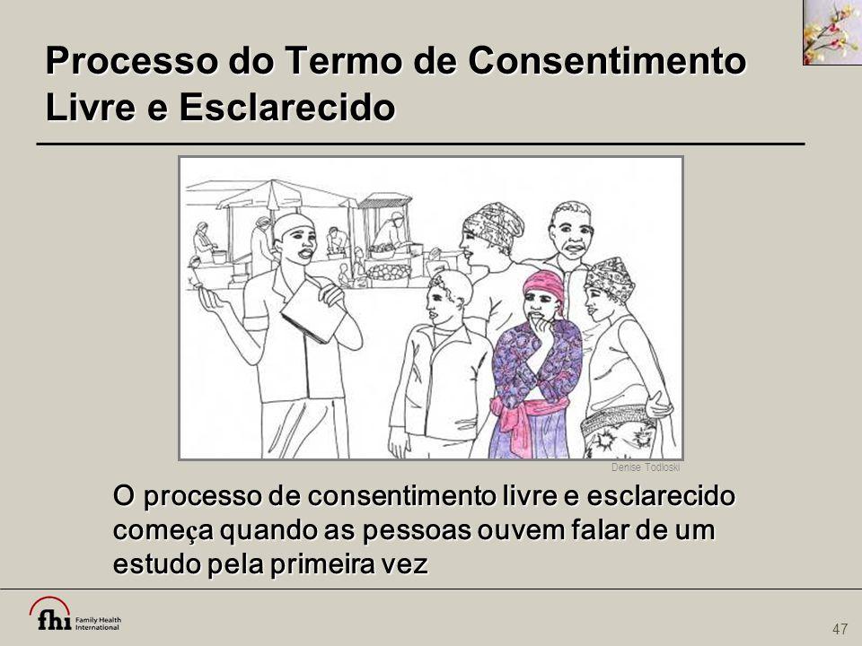 47 Processo do Termo de Consentimento Livre e Esclarecido O processo de consentimento livre e esclarecido come ç a quando as pessoas ouvem falar de um