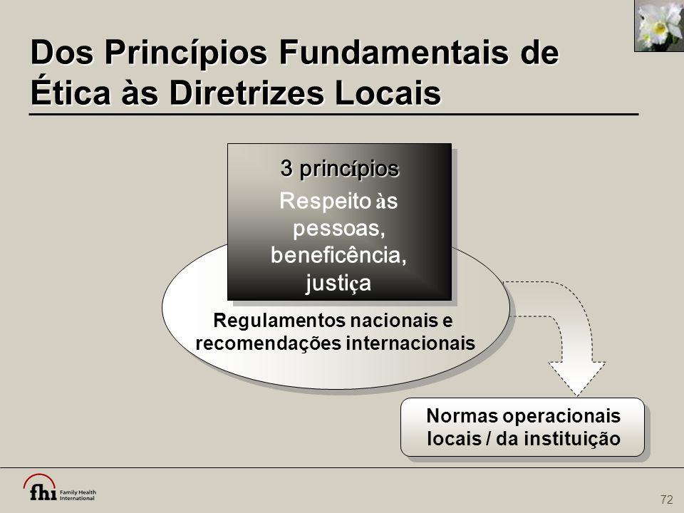 72 Dos Princípios Fundamentais de Ética às Diretrizes Locais Regulamentos nacionais e recomendações internacionais Respeito à s pessoas, beneficência,