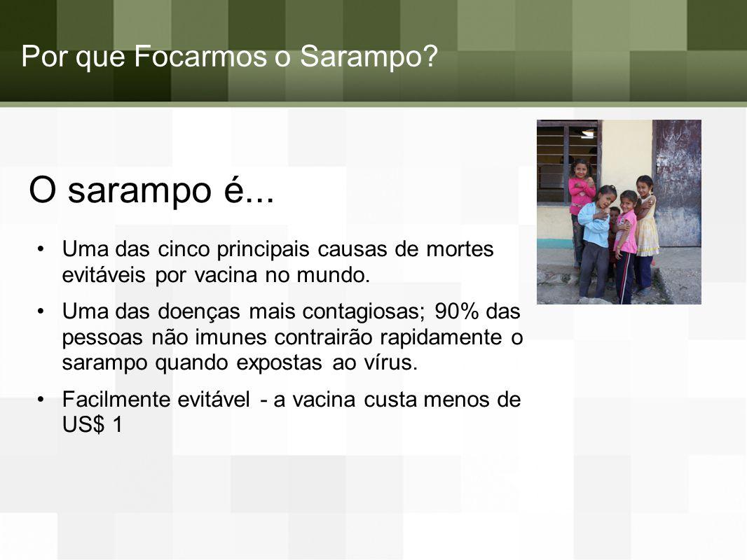 Por que Focarmos o Sarampo? O sarampo é... Uma das cinco principais causas de mortes evitáveis por vacina no mundo. Uma das doenças mais contagiosas;