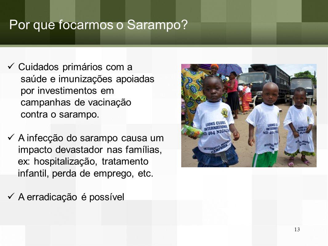 Por que focarmos o Sarampo? Cuidados primários com a saúde e imunizações apoiadas por investimentos em campanhas de vacinação contra o sarampo. A infe
