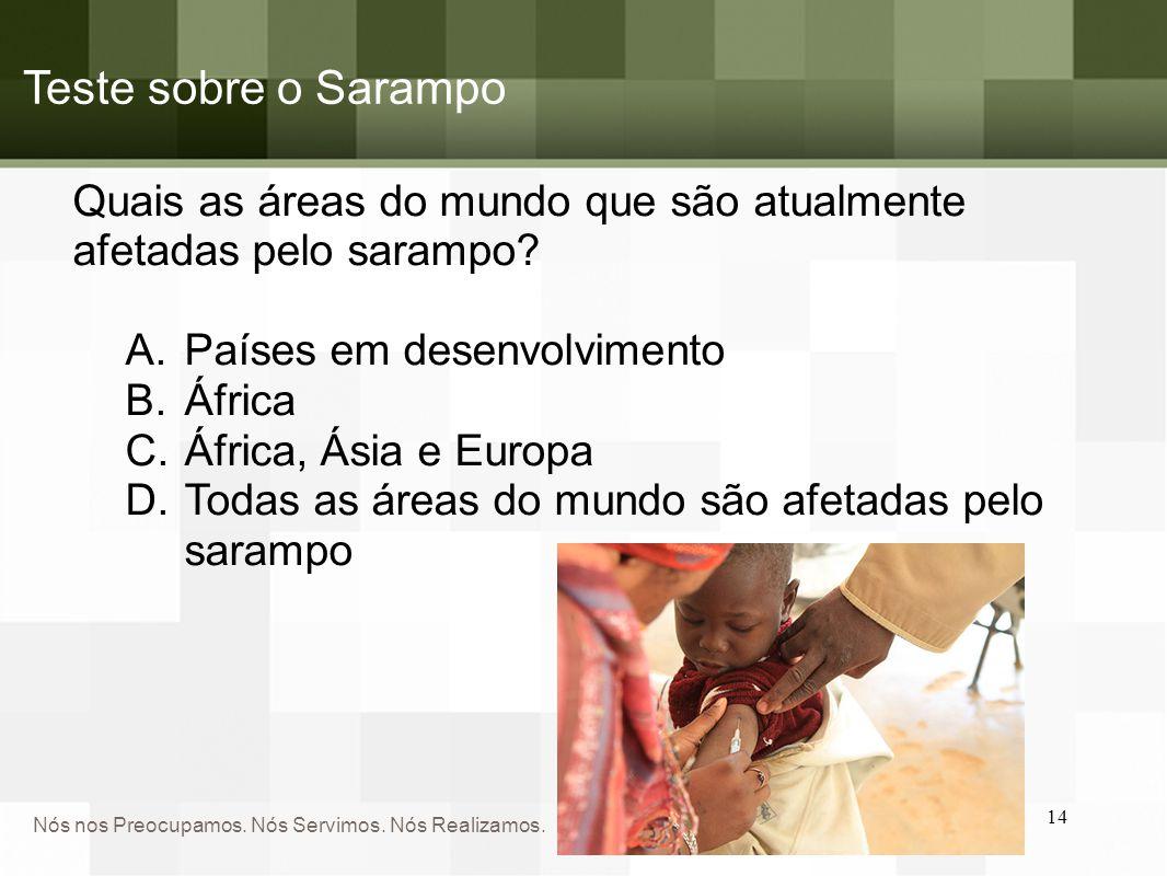Nós nos Preocupamos. Nós Servimos. Nós Realizamos. Teste sobre o Sarampo Quais as áreas do mundo que são atualmente afetadas pelo sarampo? A.Países em