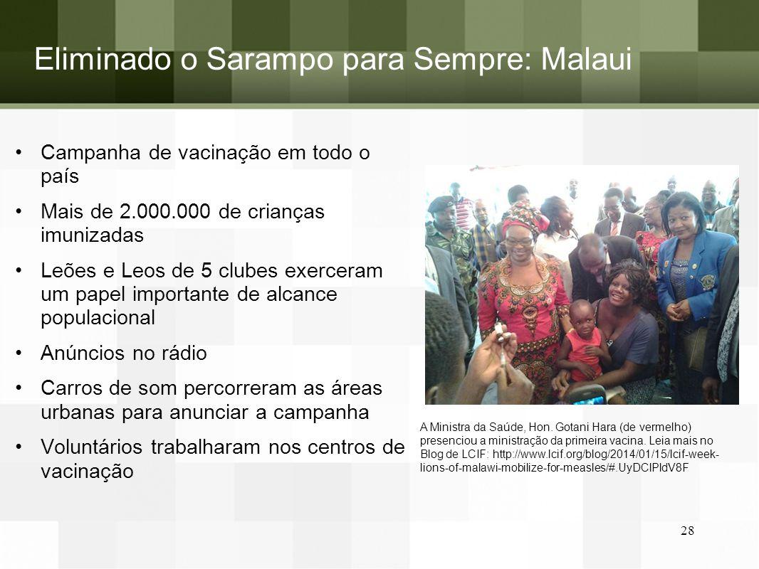 Eliminado o Sarampo para Sempre: Malaui Campanha de vacinação em todo o país Mais de 2.000.000 de crianças imunizadas Leões e Leos de 5 clubes exercer