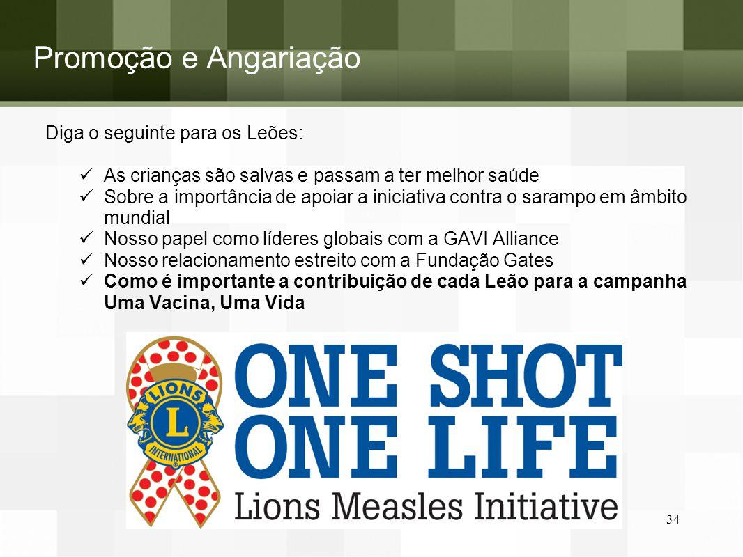 Promoção e Angariação Diga o seguinte para os Leões: As crianças são salvas e passam a ter melhor saúde Sobre a importância de apoiar a iniciativa con