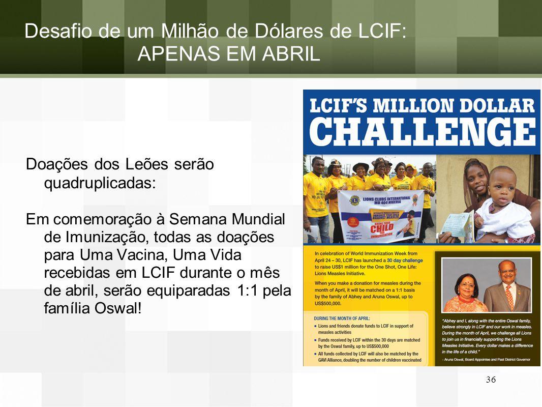 Desafio de um Milhão de Dólares de LCIF: APENAS EM ABRIL Doações dos Leões serão quadruplicadas: Em comemoração à Semana Mundial de Imunização, todas
