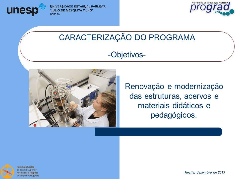 Recife, dezembro de 2013 CARACTERIZAÇÃO DO PROGRAMA -Objetivos- Renovação e modernização das estruturas, acervos e materiais didáticos e pedagógicos.