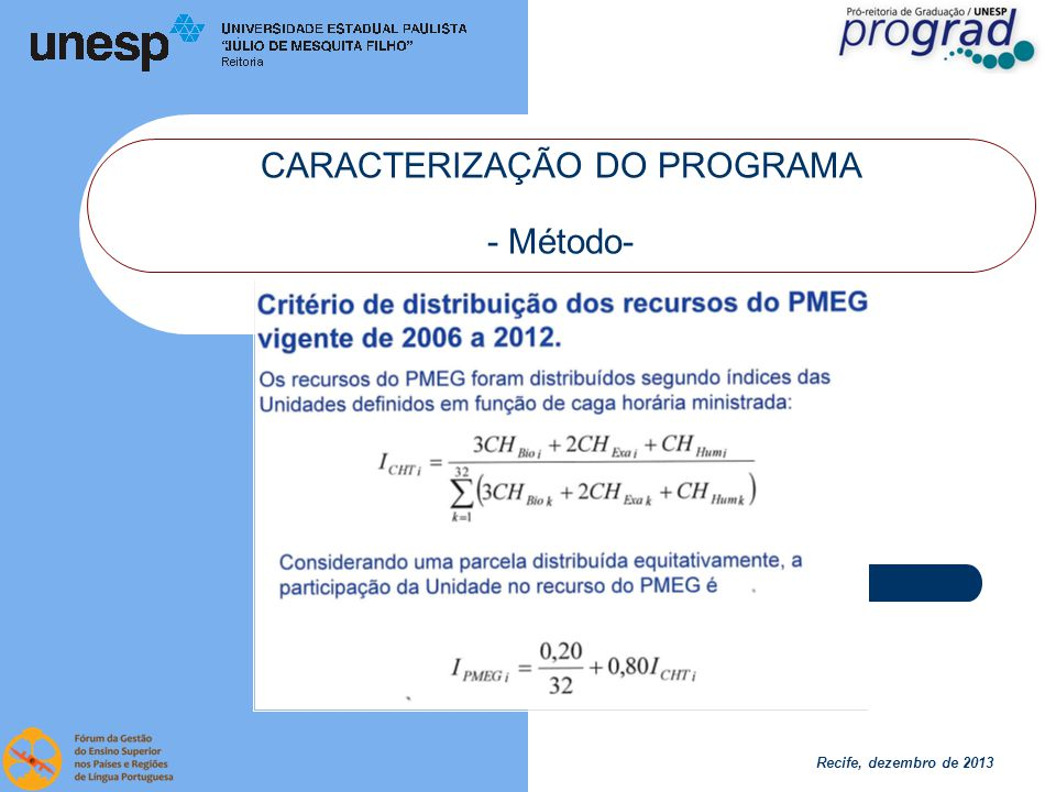 Recife, dezembro de 2013 CARACTERIZAÇÃO DO PROGRAMA - Método- Em 2013:50% por índice 50% por projetos Edital: Necessidade ou Inovação Máximo de R$ 120.000,00/projeto Máximo de 1 projeto por curso 1.