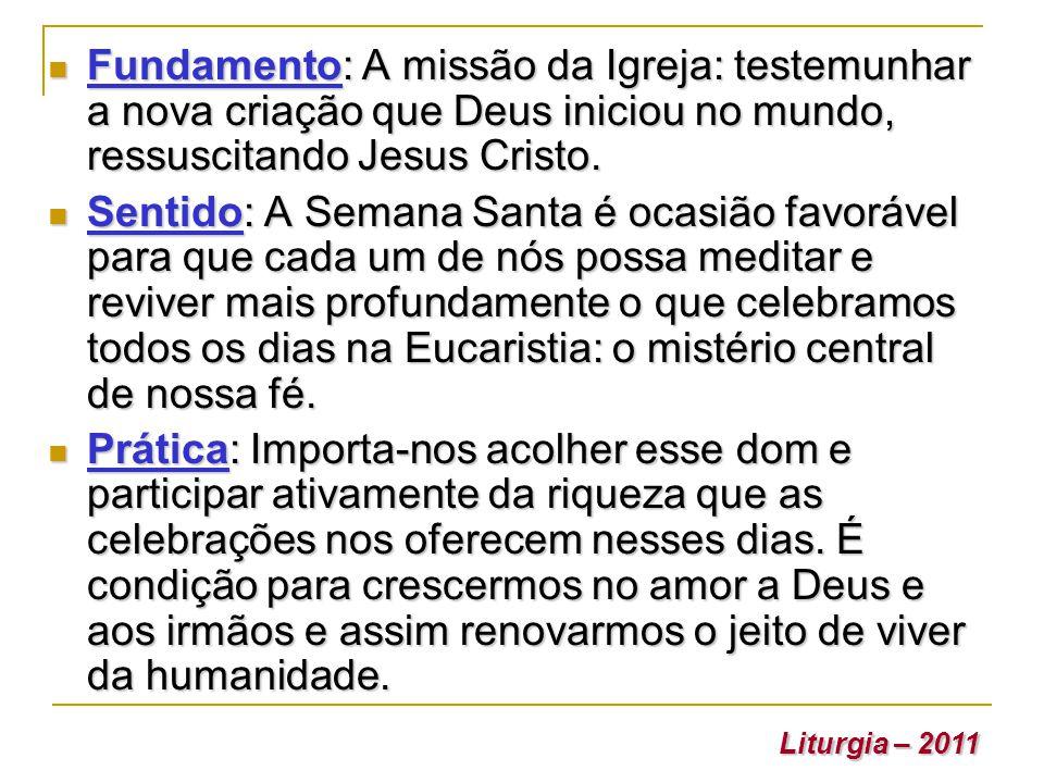 Fundamento: A missão da Igreja: testemunhar a nova criação que Deus iniciou no mundo, ressuscitando Jesus Cristo. Fundamento: A missão da Igreja: test