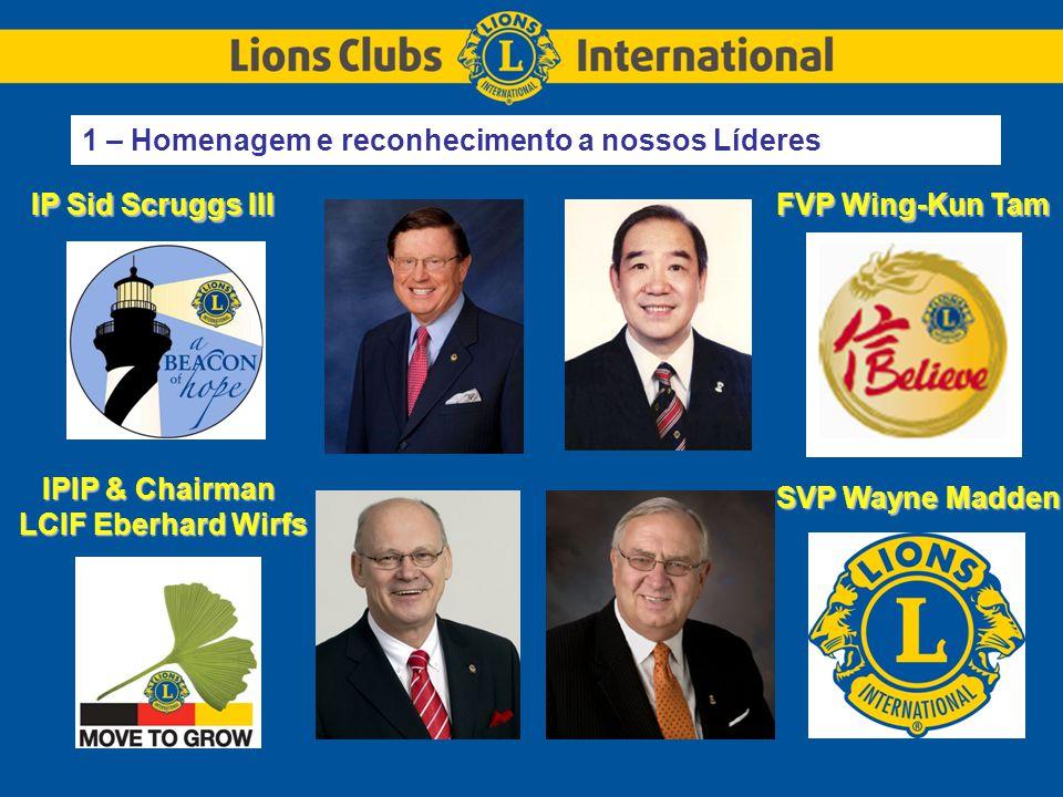 IP Sid Scruggs III IPIP & Chairman LCIF Eberhard Wirfs FVP Wing-Kun Tam SVP Wayne Madden 1 – Homenagem e reconhecimento a nossos Líderes