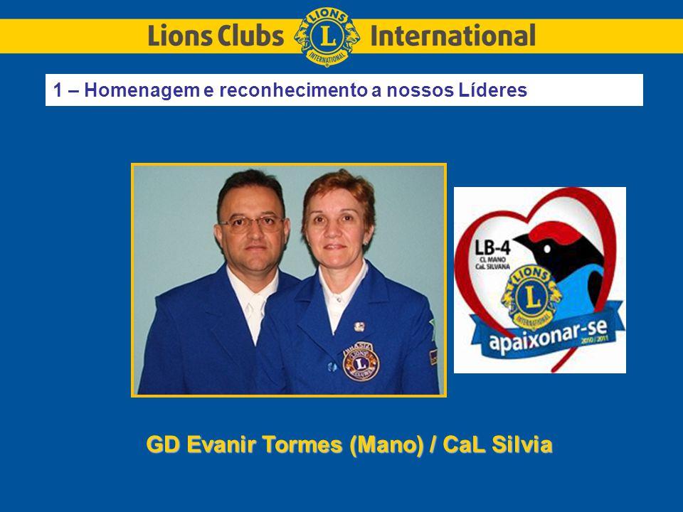1 – Homenagem e reconhecimento a nossos Líderes GD Evanir Tormes (Mano) / CaL Silvia