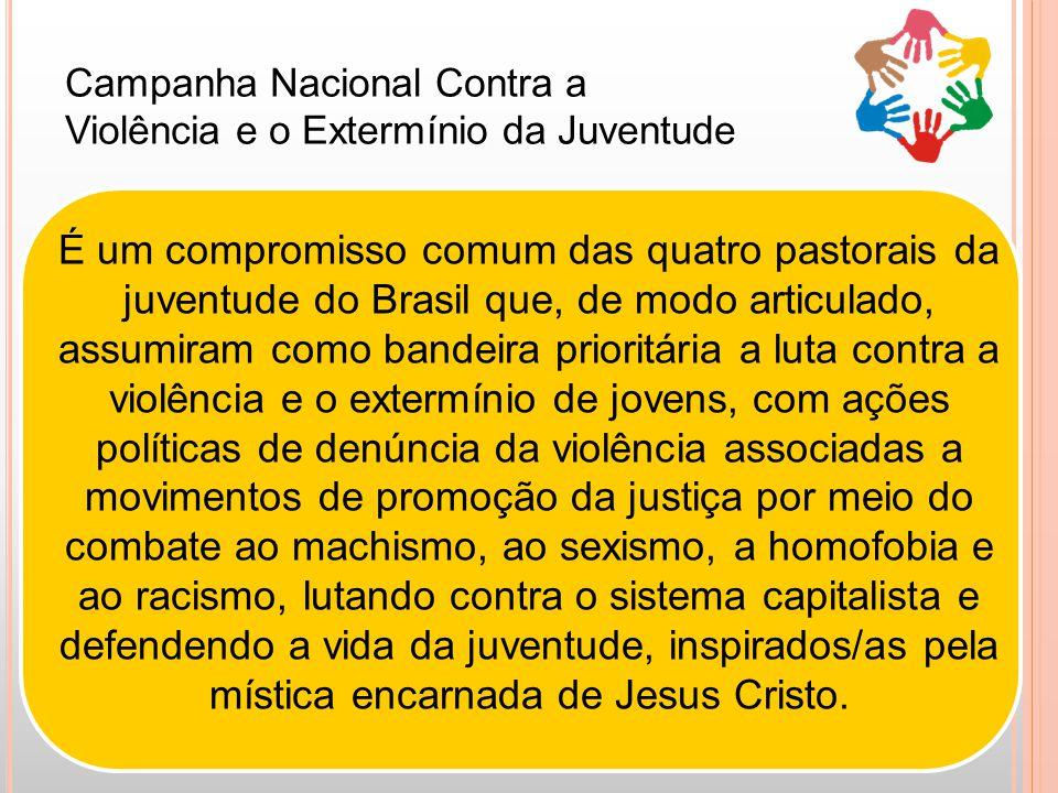 Campanha Nacional Contra a Violência e o Extermínio da Juventude É um compromisso comum das quatro pastorais da juventude do Brasil que, de modo articulado, assumiram como bandeira prioritária a luta contra a violência e o extermínio de jovens, com ações políticas de denúncia da violência associadas a movimentos de promoção da justiça por meio do combate ao machismo, ao sexismo, a homofobia e ao racismo, lutando contra o sistema capitalista e defendendo a vida da juventude, inspirados/as pela mística encarnada de Jesus Cristo.