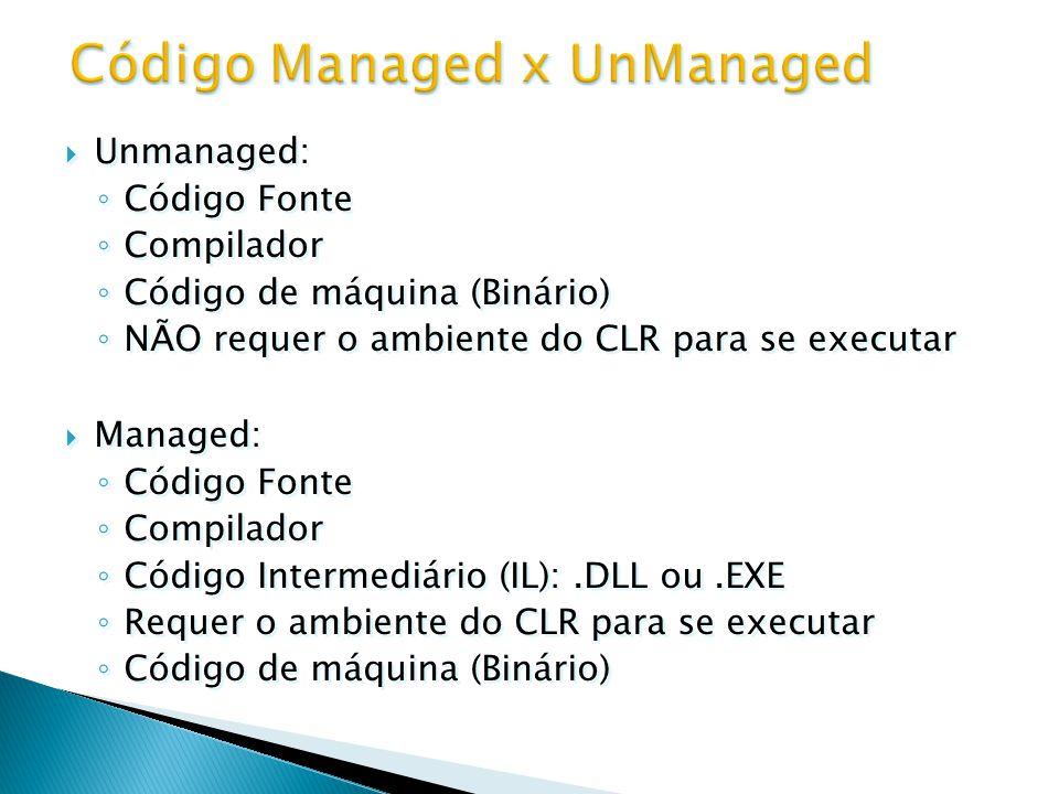  Unmanaged: ◦ Código Fonte ◦ Compilador ◦ Código de máquina (Binário) ◦ NÃO requer o ambiente do CLR para se executar  Managed: ◦ Código Fonte ◦ Com