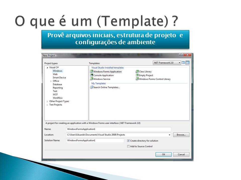 Provê arquivos iniciais, estrutura de projeto e configurações de ambiente