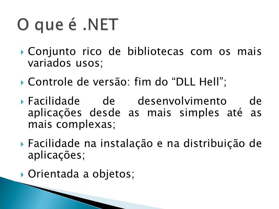 """ Conjunto rico de bibliotecas com os mais variados usos;  Controle de versão: fim do """"DLL Hell"""";  Facilidade de desenvolvimento de aplicações desde"""