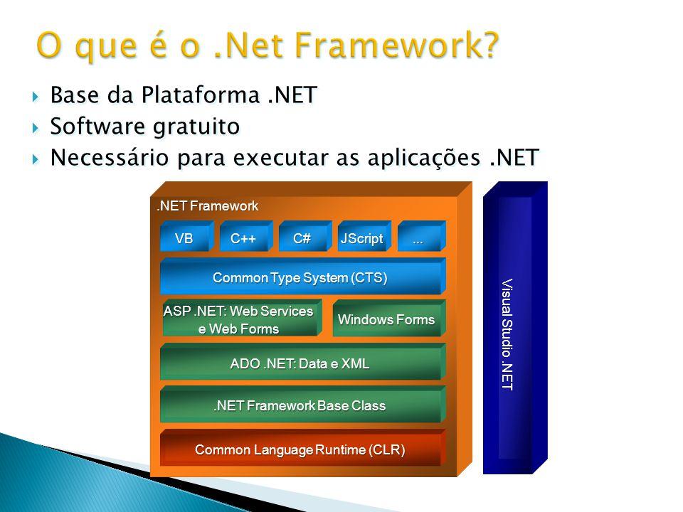  Base do.Net Framework;  Fornece serviços para a execução dos programas: ◦ Serviços de gestão de memória; ◦ Serviços de tratamento de exceções; ◦ Serviços de compilação; ◦ Serviços de segurança, etc.