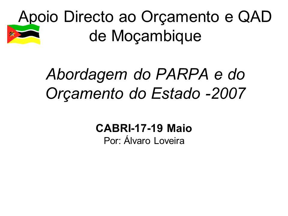 Estrutura  Enquadramento do QAD em Moçambique;  Estrutura de Monitoria do PARPA II;  Ciclo de Monitoria e Avaliação do PARPA, PES e OE;  Resultados do QAD – 2006;  Matriz de Indicadores do QAD;  Indicadores de Desempenho do OE Indicadores do QAD;  Avaliação do Desempenho dos PAPs.