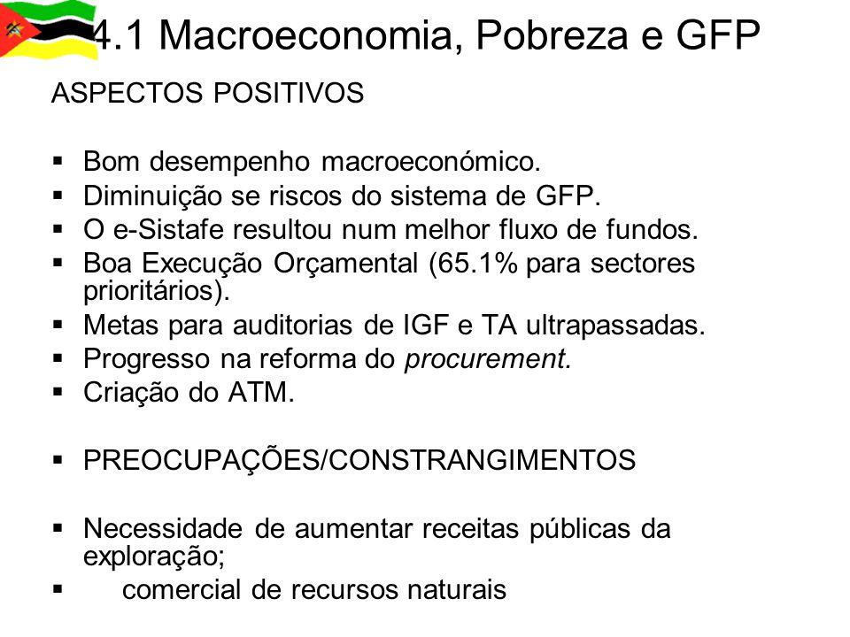 4.2 Governação ASPECTOS POSITIVOS  Bom progresso na Descentralização.